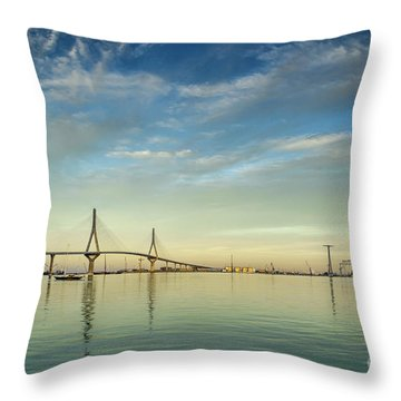 Evening Lights On The Bay Cadiz Spain Throw Pillow
