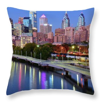 Throw Pillow featuring the photograph Evening Lights On The Delaware by Frozen in Time Fine Art Photography