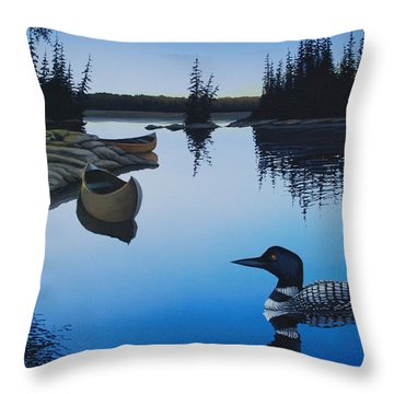 Evening Loons Throw Pillow