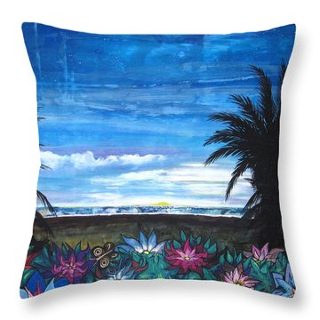 Throw Pillow featuring the painting Tropical Evening by Mary Ellen Frazee