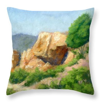 Evening On The Bench Plein Air Throw Pillow