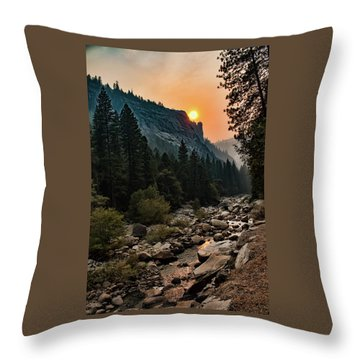 Evening On The Merced River Throw Pillow