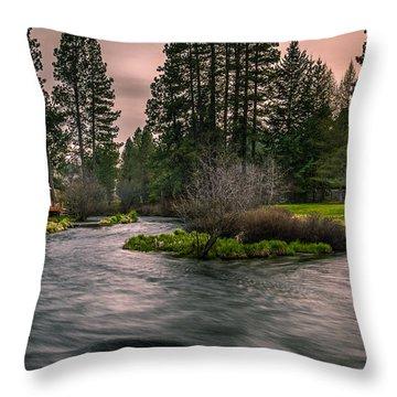 Evening On The Metolius Throw Pillow by Joe Hudspeth
