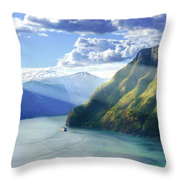 Throw Pillow featuring the photograph Evening Over Geirangerfjord by Dmytro Korol