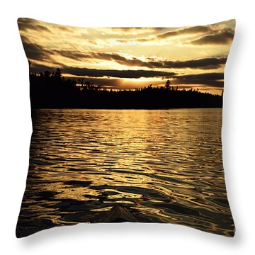 Throw Pillow featuring the photograph Evening Paddle On Amoeber Lake by Larry Ricker