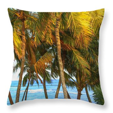 Evening Palms In Trade Winds Throw Pillow by Bonnie Follett