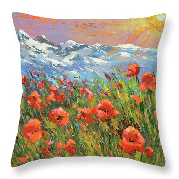 Evening Poppies  Throw Pillow