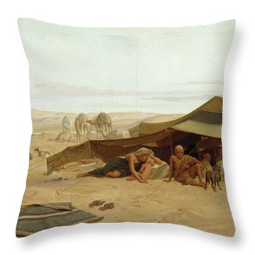 Evening Prayer In The West Throw Pillow by Frederick Goodall