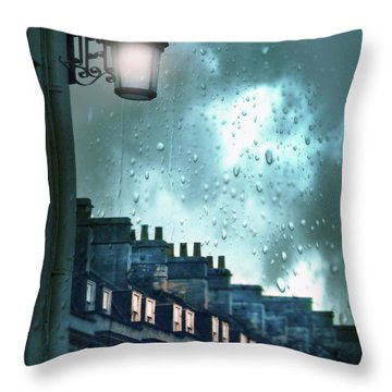 Evening Rainstorm In The City Throw Pillow by Jill Battaglia