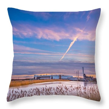 Throw Pillow featuring the photograph Evening River Scene by Gary Gillette
