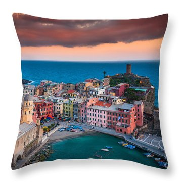 Evening Rolls Into Vernazza Throw Pillow by Inge Johnsson