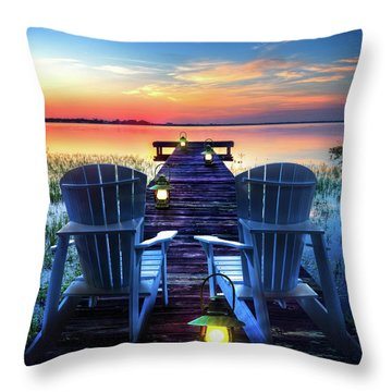 Throw Pillow featuring the photograph Evening Romance by Debra and Dave Vanderlaan