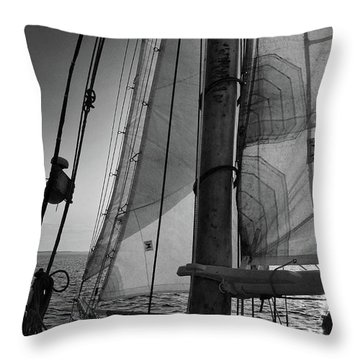 Evening Sail Bw Throw Pillow