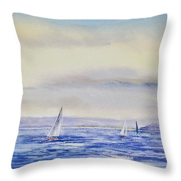 Evening Sail On Little Narragansett Bay Throw Pillow