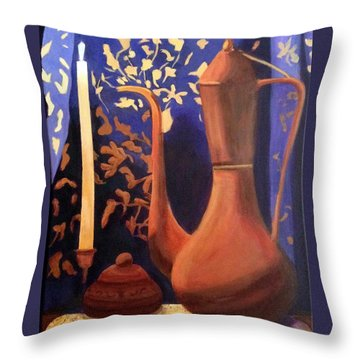 Throw Pillow featuring the painting Evening Still Life by Patricia Cleasby