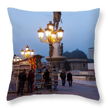 Evening Stroll In Skopje Throw Pillow by Rae Tucker