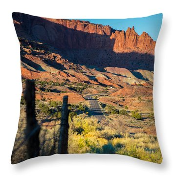 Evening Sun At Capitol Reef N.p Throw Pillow by Michael J Bauer