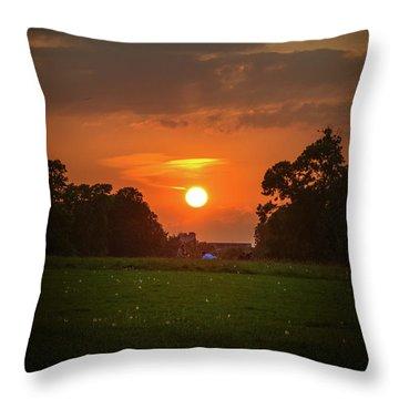 Evening Sun Over Picnic Throw Pillow