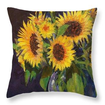 Evening Table Sun Flowers Throw Pillow