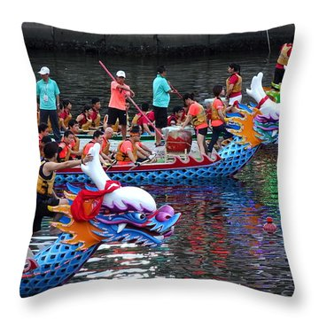 Evening Time Dragon Boat Races In Taiwan Throw Pillow