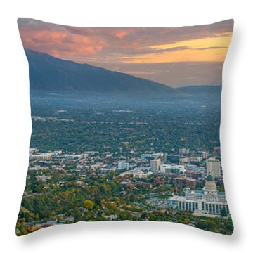 Evening View Of Salt Lake City From Ensign Peak Throw Pillow
