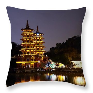 Evening View Of The Dragon And Tiger Pagodas In Taiwan Throw Pillow