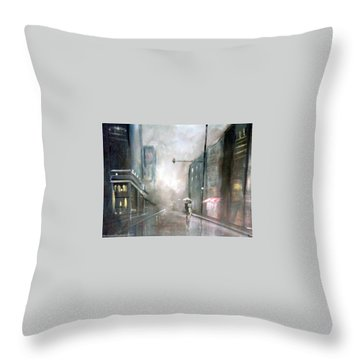 Evening Walk In The Rain Throw Pillow by Raymond Doward