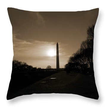 Evening Washington Monument Silhouette Throw Pillow by Betsy Knapp