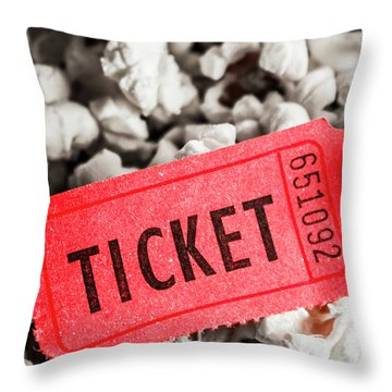 Event Ticket Lying On Pile Of Popcorn Throw Pillow