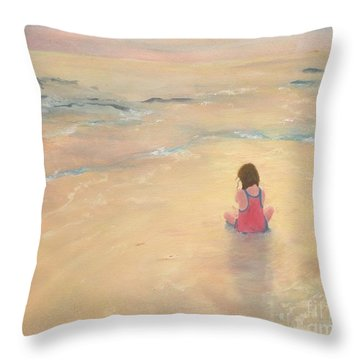 Throw Pillow featuring the painting Eventide by Mary Lynne Powers