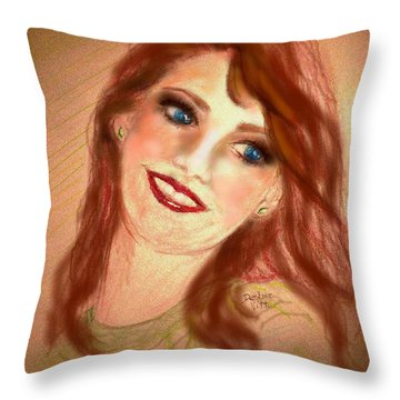 Throw Pillow featuring the mixed media Ever So Softly by Desline Vitto