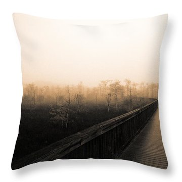 Throw Pillow featuring the photograph Everglades Boardwalk by Gary Dean Mercer Clark