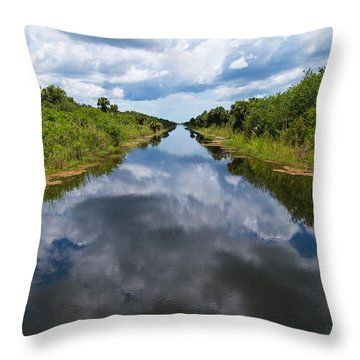 Everglades Canal Throw Pillow by Christopher L Thomley