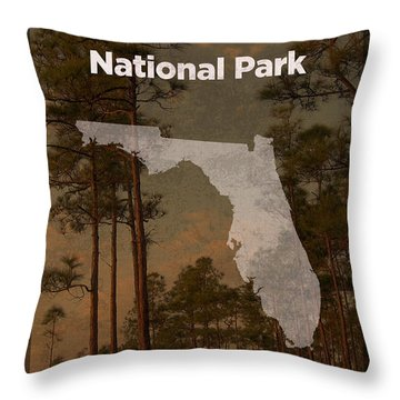 Everglades National Park In Florida Travel Poster Series Of National Parks Number 15 Throw Pillow