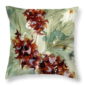 Throw Pillow featuring the painting Evergreen Branch by Dawn Derman