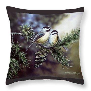 Evergreen Chickadees Throw Pillow