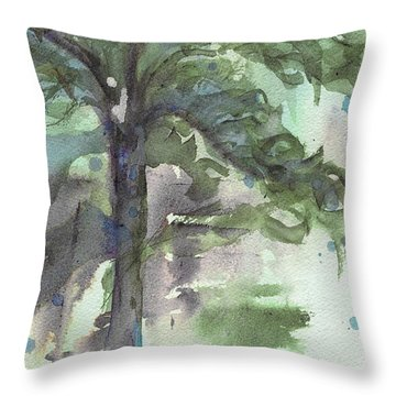 Throw Pillow featuring the painting Evergreen by Dawn Derman