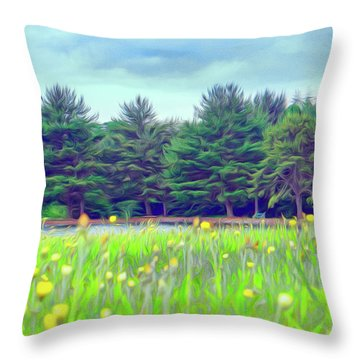 Evergreen Lake - Impressionism Throw Pillow