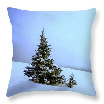 Throw Pillow featuring the painting Evergreen Offspring P D P by David Dehner