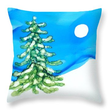 Evergreen Tree In Winter Throw Pillow