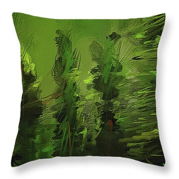 Throw Pillow featuring the painting Evergreens - Green Abstract Art by Lourry Legarde