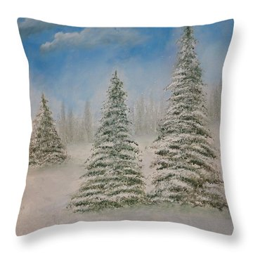 Evergreens In Snow  Throw Pillow