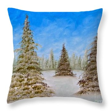 Evergreens In Snowy Field Enhanced Colors Throw Pillow