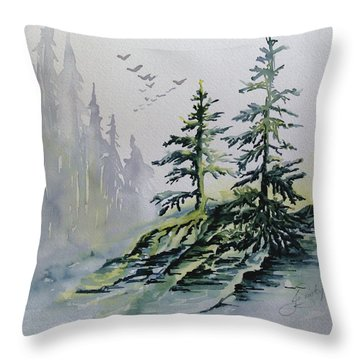 Evergreens In The Mist Throw Pillow