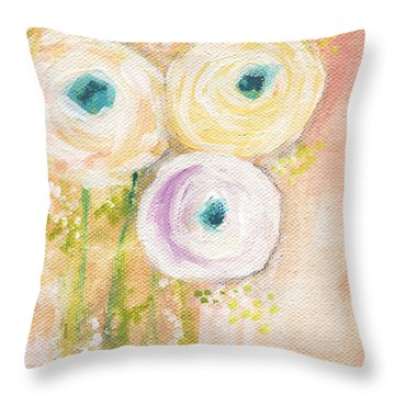 Everlasting- Expressionist Floral Painting Throw Pillow