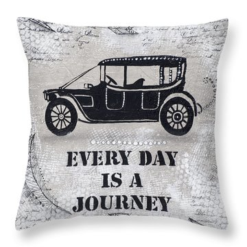 Throw Pillow featuring the mixed media Every Day Is A Journey  by Stanka Vukelic