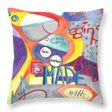 Throw Pillow featuring the painting Every Dream Begins by Erin Fickert-Rowland