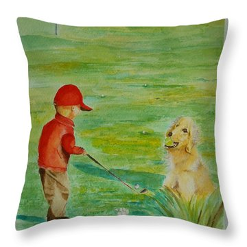 Throw Pillow featuring the painting Everything Waits While I Golf Art by Geeta Biswas