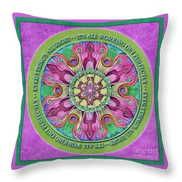 Everything's All Right Mandala Prayer Throw Pillow