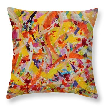 Throw Pillow featuring the painting Everywhere There Are Fish by Lyn Olsen